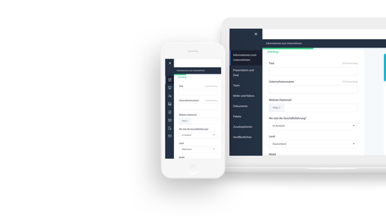 Verwalten Sie Ihre Anzeigen, Investoren und Nachrichten durch Ihr privates Dashboard